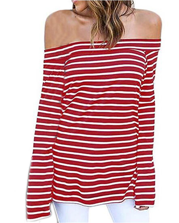 3XL Blouse Shirt Women 2019 Zanzea Summer Causal Sexy Slash Neck Off Shoulder Long Sleeve Striped Slim Tops and Blouse Plus Size