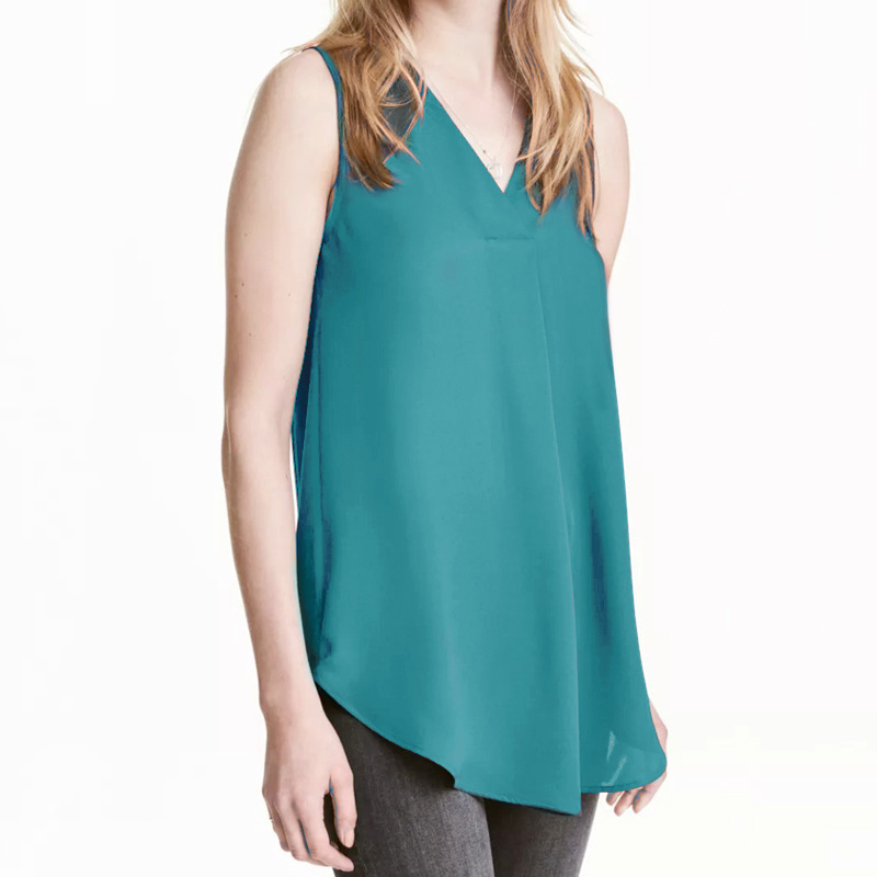 Cross Border for 2018 Female European And American New Style Fashion V neck Sleeveless Chiffon Shirt Vest L Women in Blouses amp Shirts from Women 39 s Clothing