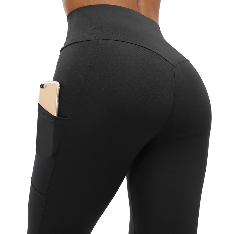 SVOKOR High Waist Pocket Fitness Legging Solid Color Polyester Breathable Leggings Women Stylish Comfortable Workout Legging