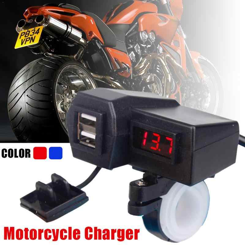 3.1A Motorcycle Car Charger Dual USB Cigarette Lighter Voltmeter Display Waterproof Wiring 60CM Adapter Moto Accessories