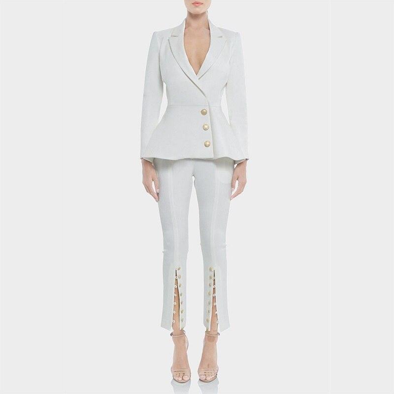 2018 зимние вечерние Для женщин белый брючный костюм для подиума пикантные дизайнерские V шеи Однобортный Блейзер Женский Офис праздничный к