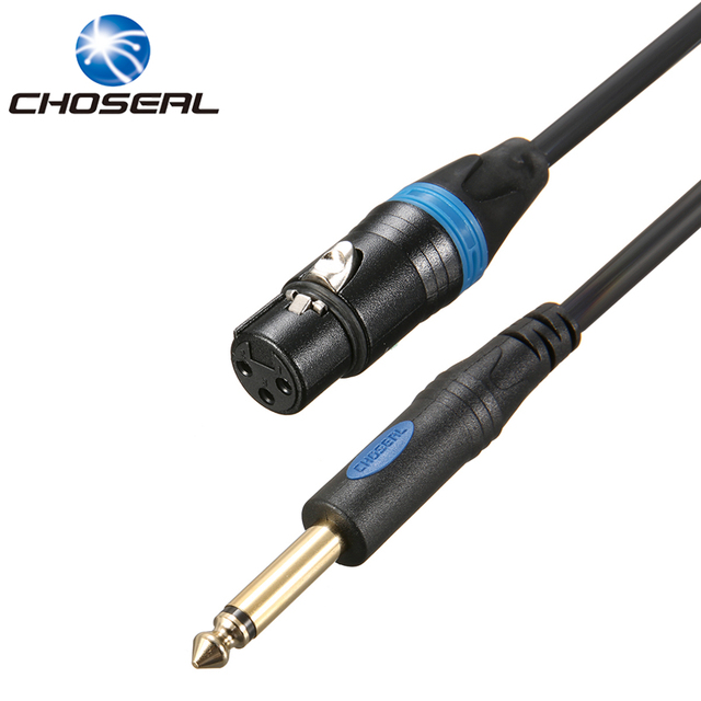 Choseal QS3801 Microphone Wire Cord XLR Female To 635MM Jack Male