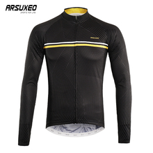ARSUXEO Long Sleeve Cycling Jersey Man Printing Clothing Bike Top Quick Drying Ciclismo Breathable MTB Clothes