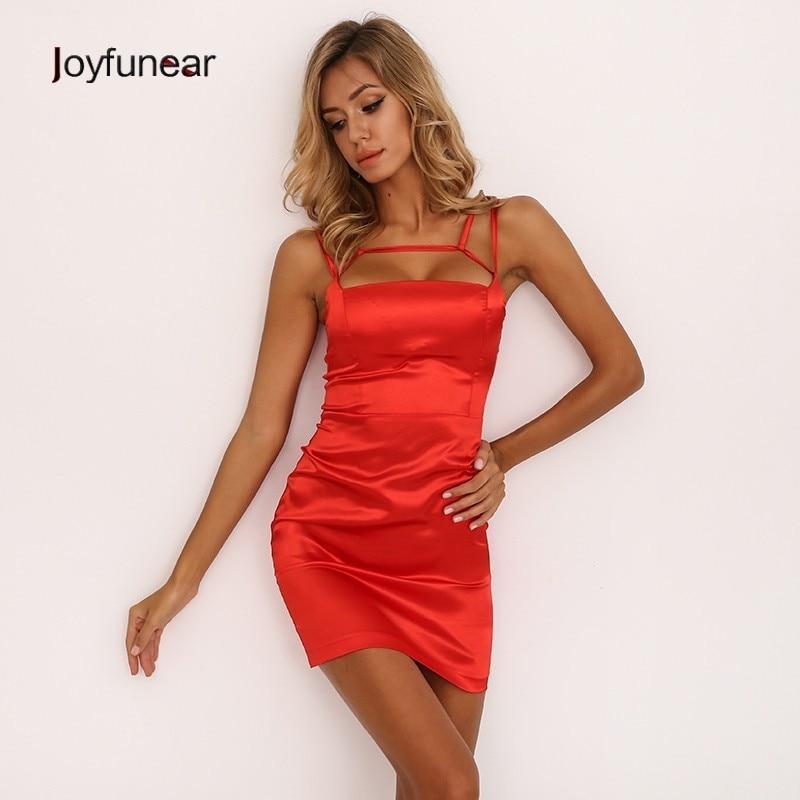 Joyfunear 2019 Bandage Hollow Out Bodycon Sexy Dresses Women Red Party Dresses Above Knee Sleeveless Mini Summer Dress Vestidos