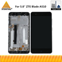 "Axisinternational 5.0 ""ل ZTE بليد A510 شاشة الكريستال السائل شاشة محول رقمي يعمل باللمس مع الإطار ل ZTE بليد A510 شاشة LCD"