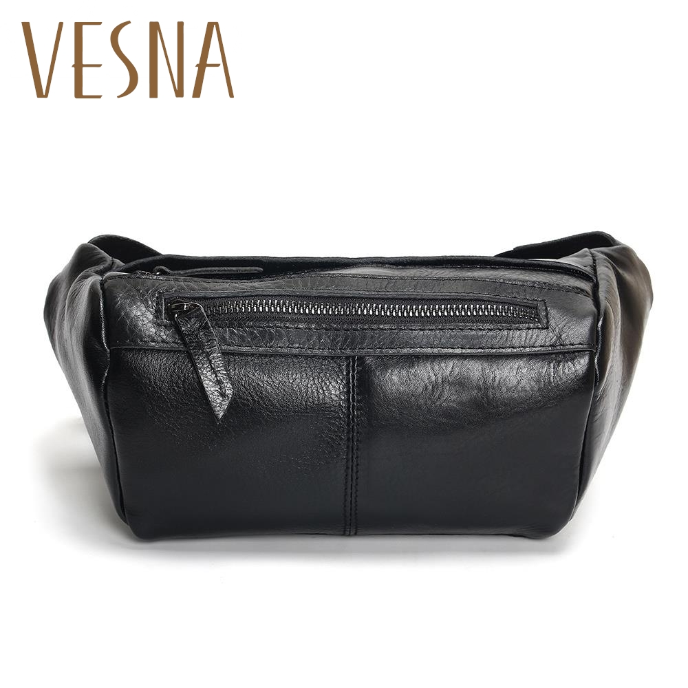 Vesna Fashion Men Waist Bag Casual Pu Leather Chain Shoulder Bags Zipper Chest Travel Fanny Pack