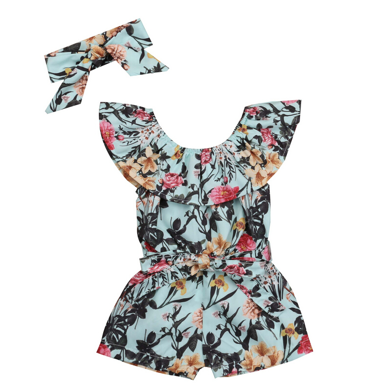 Newborn Baby Girls Floral Print Rompers Short Sleeve Romper+Headband Jumpsuit Outfits Summer Sunsuit