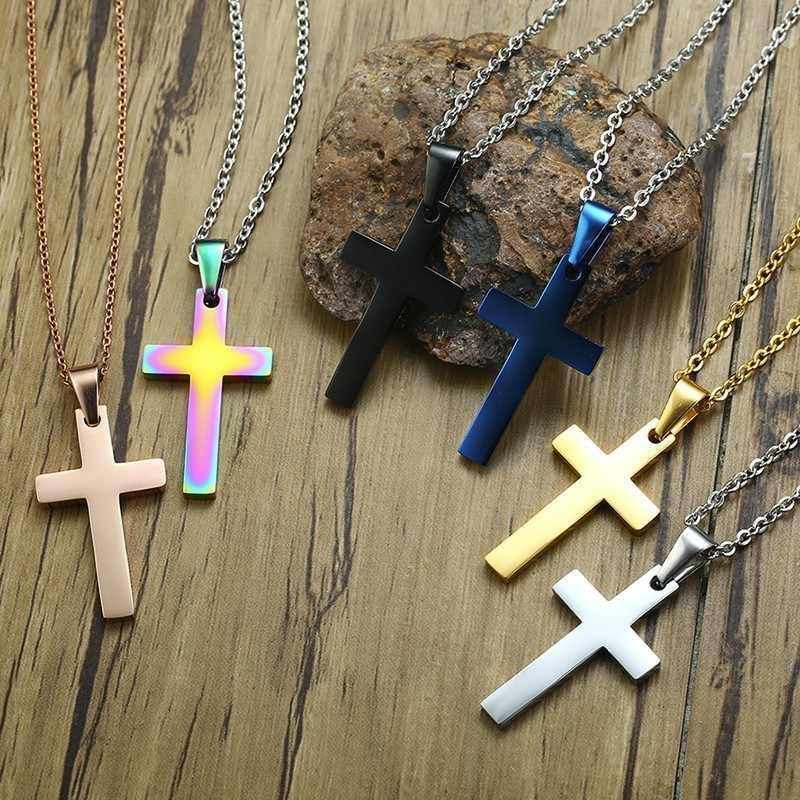 Vnox простой крест подвески для женщин мужчин 316L вакуумная Кофеварка религиозные Христос молитва вера ожерелья мужчин