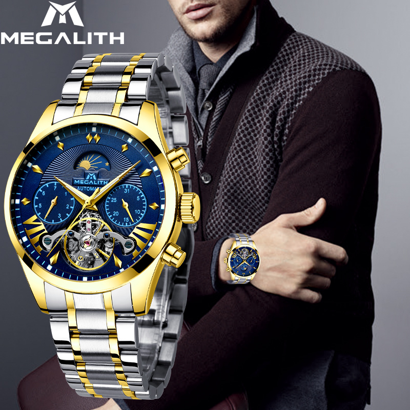 MEGALITH Business Mens Watches Sport Automatic Mechanical Mililtary Watch Waterproof Date Men watch Top Brand Relogio MecanicoMEGALITH Business Mens Watches Sport Automatic Mechanical Mililtary Watch Waterproof Date Men watch Top Brand Relogio Mecanico