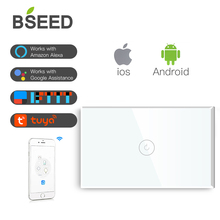 BSEED Touch Switch Wifi 1 Gang Way 118 Series Smart Glass Light White Black Gold (Neutral Wire Needed)