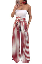 Casual Women Clothing Long High Waist Striped Wide Leg Pants Sashes Pants