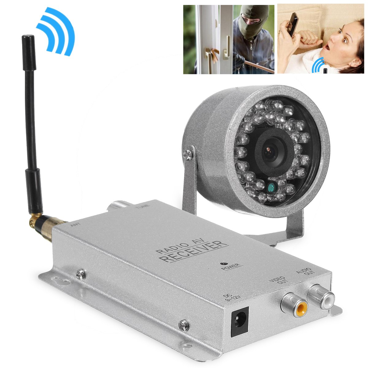1.2G Wireless Camera Kit Radio AV Receiver With Power Supply Surveillance Home Security With 30 LED