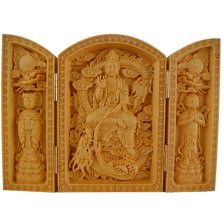Boxwood carving, Buddha Maitreya statues, open box style, wood crafts, Buddism godness Guanyin Bodhisattva, 3pattern optional~Boxwood carving, Buddha Maitreya statues, open box style, wood crafts, Buddism godness Guanyin Bodhisattva, 3pattern optional~