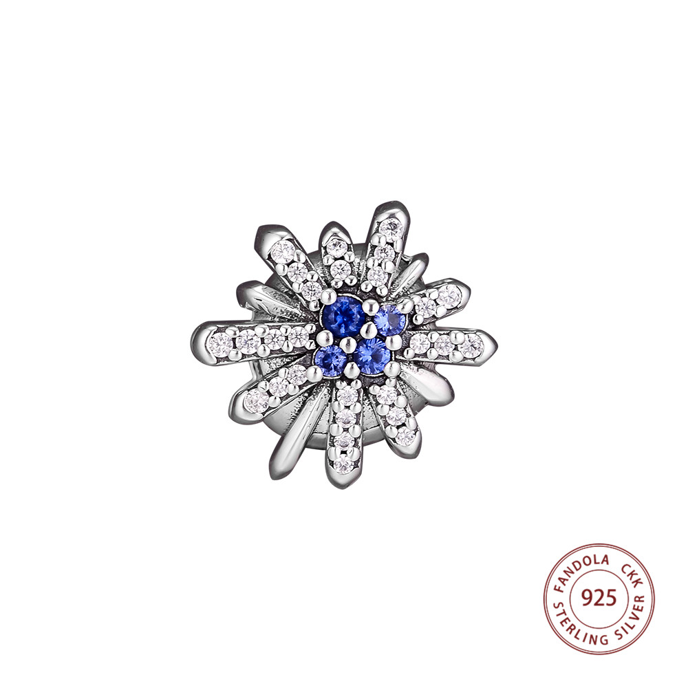 Systematic Dazzling Fireworks Charms 100% 925 Sterling Silver Clear Cz & Blue Crystal Beads For Jewelry Making Fits Original Brand Bracelet