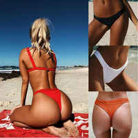 Hirigin Thong Bikini Bottom Women Swimwear 2019 New Sexy T Shorts Pure Color Brazilian Beachwear Women Bathing Suit 4 Color Hot