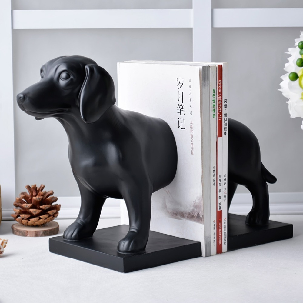 Très mignon noir chien serre-livres grand créatif dessin animé livre fin magnifiquement décoré bureau stockage Nice artisanat