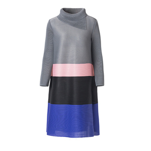 Image 5 - Lanrmem 2020 春夏のファッション新プリーツの服長袖タートルネック弾性コントラスト色ドレス YH295