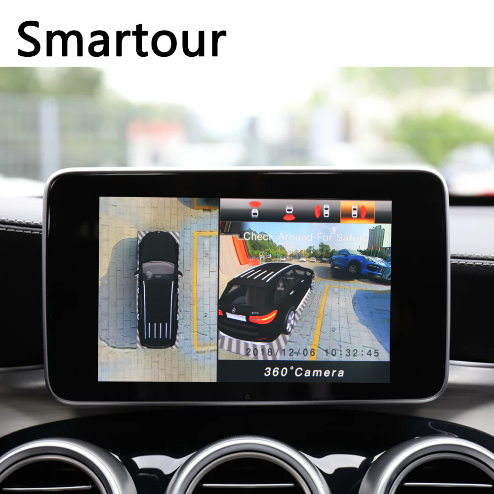 Carro Smartour 3D Surround Sistema de Monitoramento de Vista 360 Graus Bird View Câmeras Panorama 4-CH DVR Gravador de Condução com sensor de G