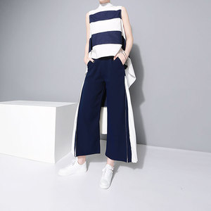 Image 2 - [EAM] 2020 New Spring High Waist Blue Side Pleated Split Joint Hit Color Loose Wide Leg Long Pants Women Trousers Fashion  JF795