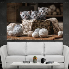 Cat art Posters and Prints Canvas animal painting Wall pictures for Living room Frameless printing