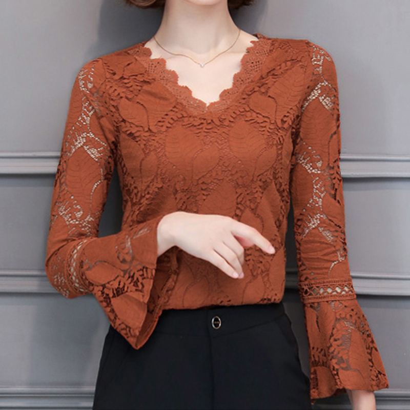 2019 Plus size Women clothing spring sexy v neck lace Shirt Tops hollow out female Elegant long sleeve Lace Blouse shirts 562G3-