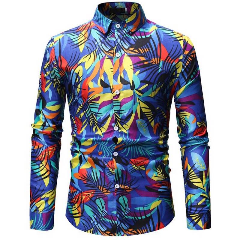 2019 Mens Hawaiian Shirt Male Casual Camisa Masculina Printed Beach Shirts Long Sleeve Brand Clothing Free Shipping 26 Color