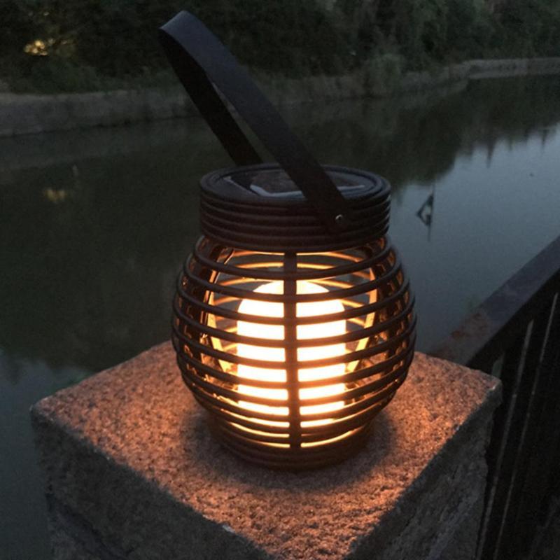 Led Solar Lantern Garden Deco Rattan Optic Black Drop Shipping Outdoor Lighting