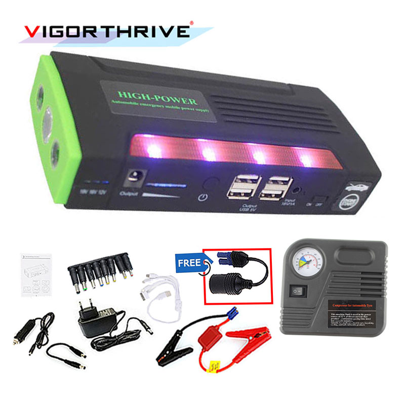 12V Mini Emergency Car Power Bank Muti-function Portable Battery Charger Jump Starter Booster With Pump External Rechargeable