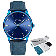 CIVO Mens Watches Men Quartz Watch Minimalist Slim Genuine Leather Strap Watch For Man Sport Waterproof Wristwatch Male Clock цена в Москве и Питере