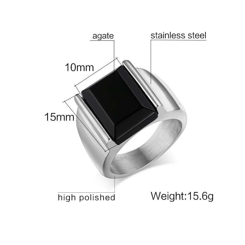 Details about  /Vintage Black Big Stone Ring Men Stainless Steel Punk Jewelry Man Gothic Rings S