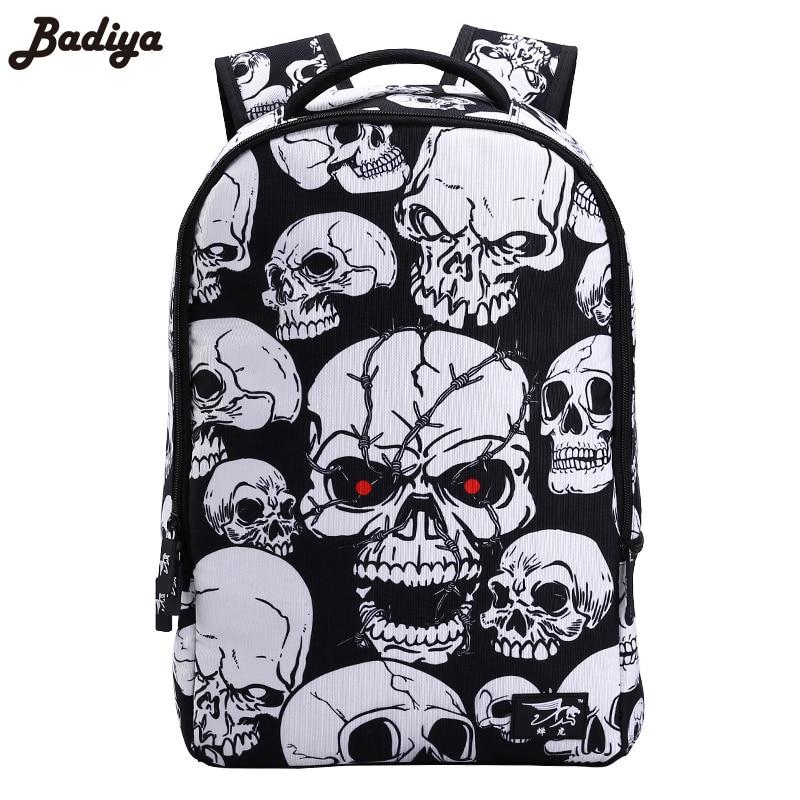 3D Skull Laptop Backpack Large Capacity Punk Rock Printing School Bags Casual School Bags For Boys