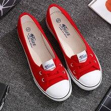 Voglia Casual ballerine scarpe donna bocca bassa appartamenti piattaforma scarpe bianche Slip On estate donna tela zapatos de mujer