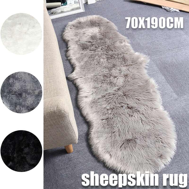 Blanc/gris/noir 190x70 cm tapis souple tapis de siège pour salon chambre Imitation/laine cuir tapis maison Textile accessoire nouveau