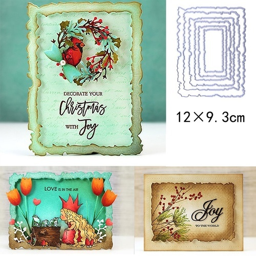 6pcs/Set Vintage Torn Rectangle Frame Metal Cutting Dies for DIY Scrapbooking Photo Album Embossing Paper Cards Craft