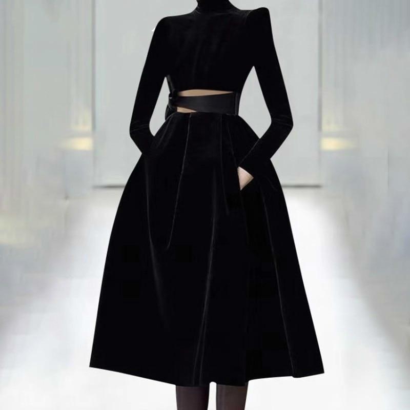Robes de soirée femmes col roulé à manches longues Bowknot évider robe femme Plus tailles 2019 printemps mode R203