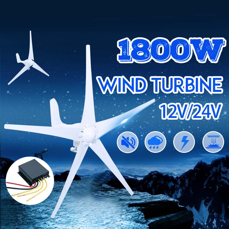 1800W 12V 24V Wind Power Turbines Generator 3/5 Wind Blades Option With Waterproof Charge Controller Fit for Home Or Camping1800W 12V 24V Wind Power Turbines Generator 3/5 Wind Blades Option With Waterproof Charge Controller Fit for Home Or Camping