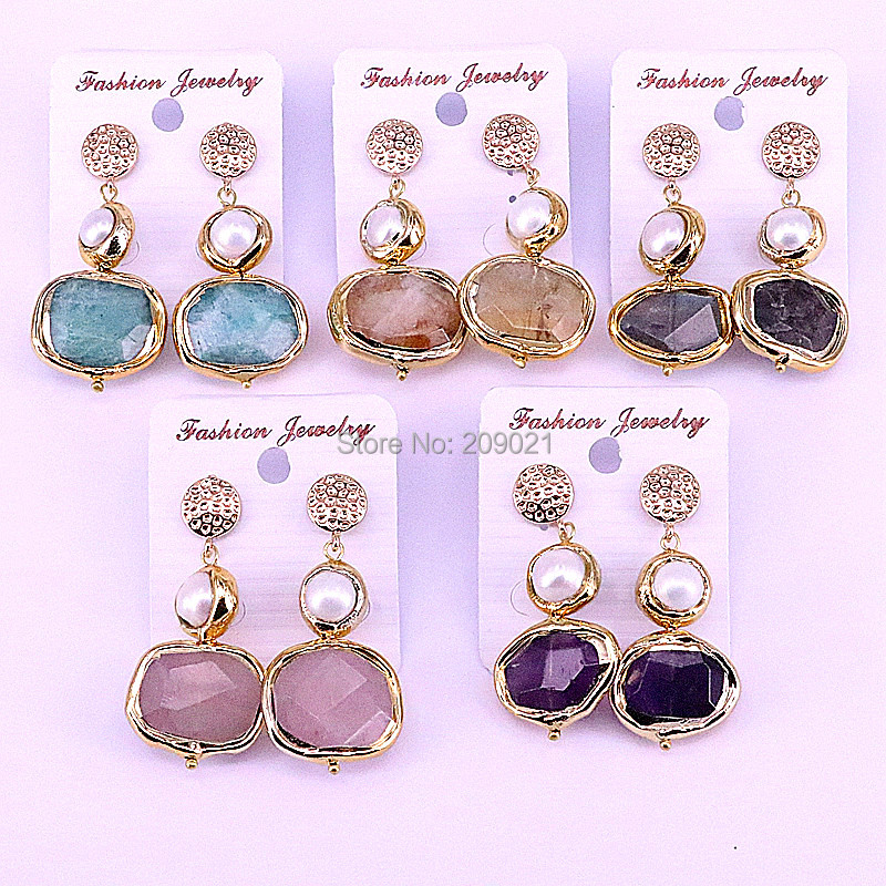 4Pairs Metal Electroplated Gold Freeform Shaped Assorted Nature Stone With Pearl Beads Charms Dangle Earrings For