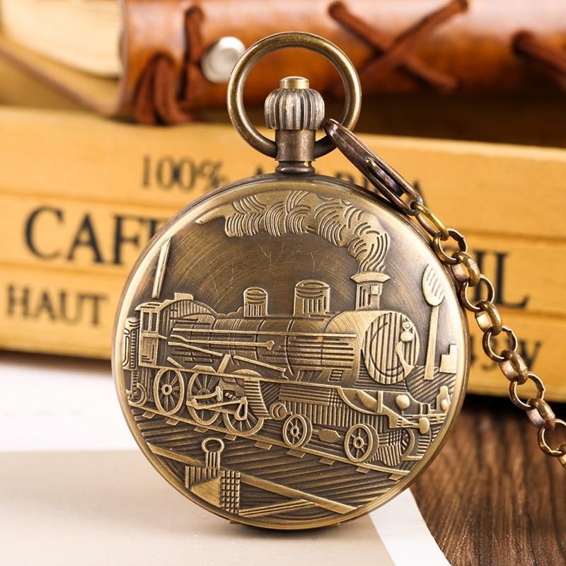 Pur cuivre Tourbillon Phases lune soleil tournant mécanique montre de poche rétro grande Locomotive Train à vapeur conception chaîne montres