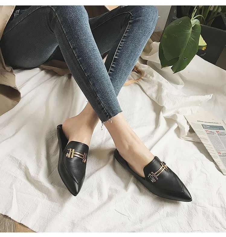 Dropshipping Kore Moda Düz Kadın İlkbahar Sonbahar Yeni Sivri Burun Seksi Vintage Siyah Rahat Kayma Pu Deri kadın ayakkabısı
