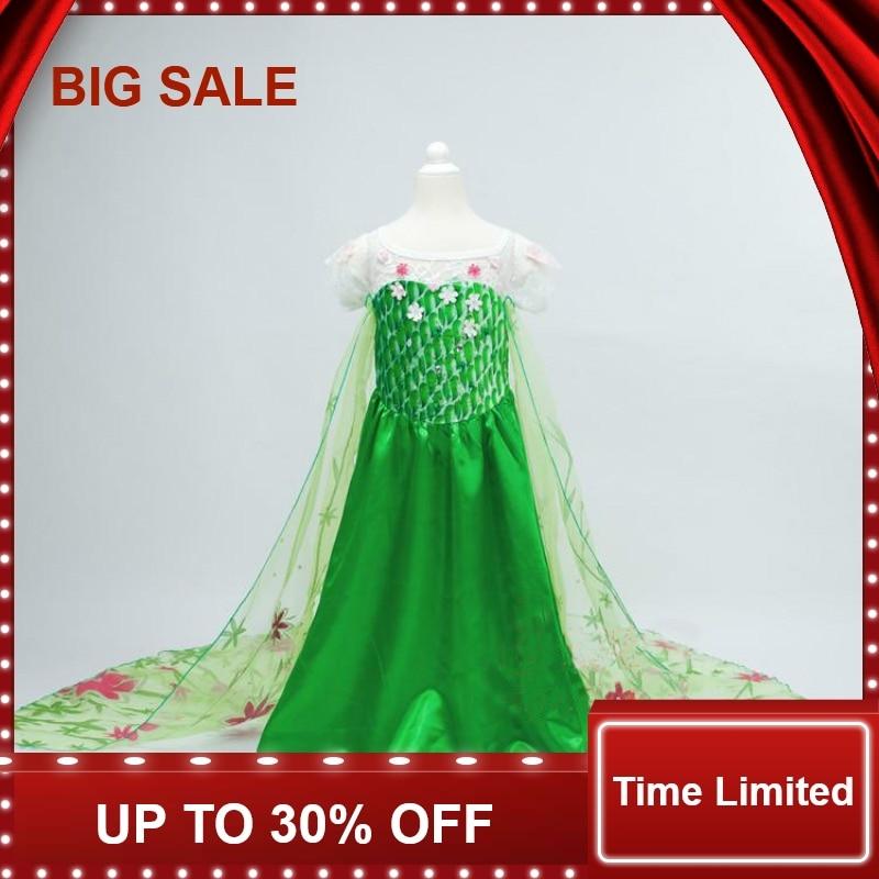 Verde elsa vestido de alta qualidade do bebê meninas trajes neve rainha cosplay vestidos crianças roupas fantasia para crianças