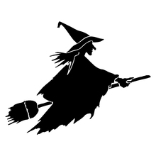 18cm*14cm Witch On Flying Broom Funny Vinyl Car Sticker Art Painting Stickers Decor Decals