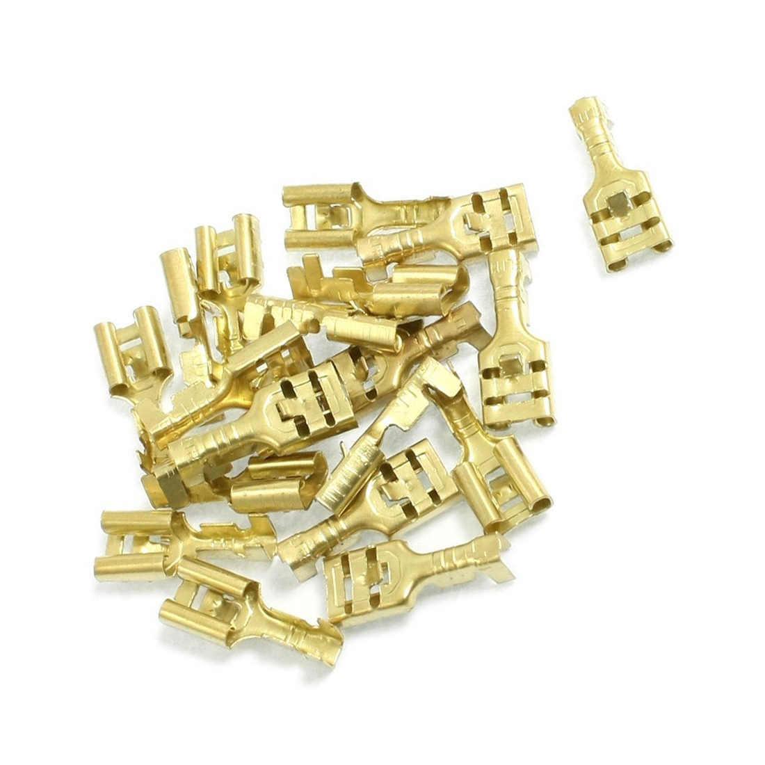 20 pièces laiton ton or 6.3mm connecteurs femelle bêche câble bornes,