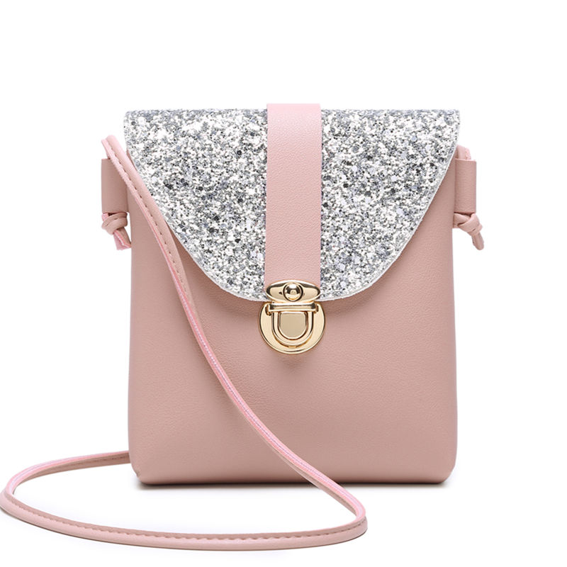 Women Small Bling Bling Shoulder Bag Lady's Mini Cute Solid Color Glossy Handbag Cover Opening Bag Cross Body