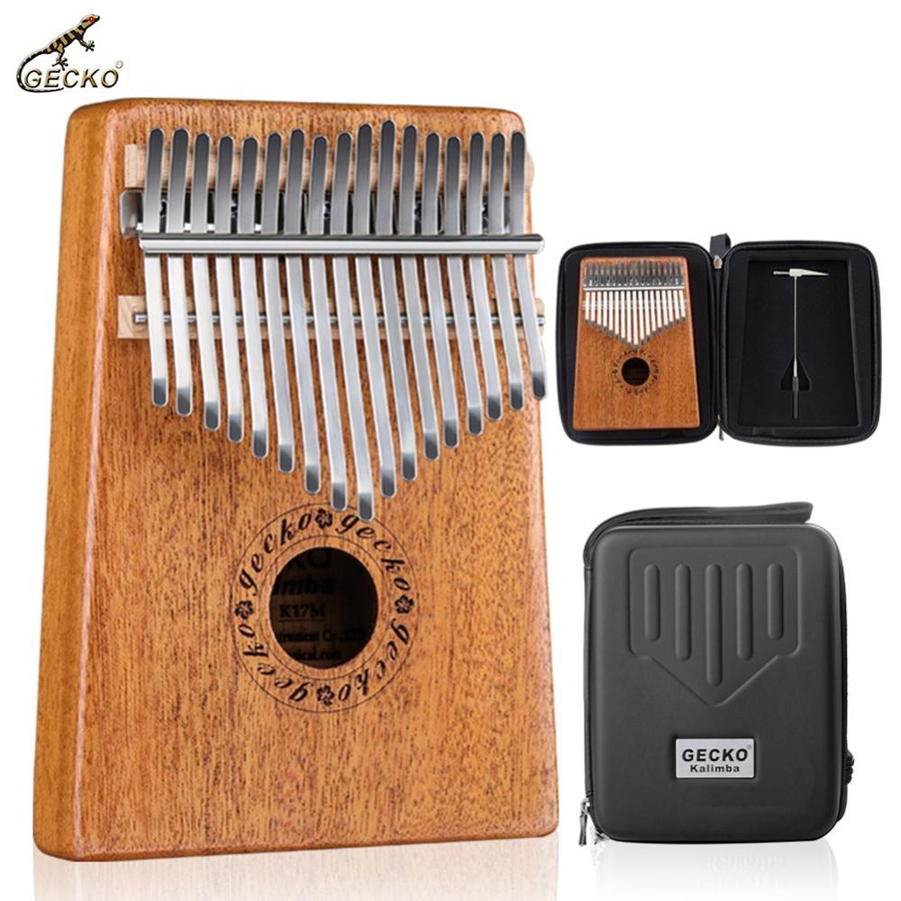 GECKO 17 Key Kalimba Finger Thumb Piano Mahogany Wood Mbira Keyborad Instrument with Carry Bag Tuning