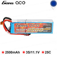 Gens ace 11.1V 2500mAh Lipo 3S Battery Pack 25C Deans Plug Batteries for Airsoft Gun RC Boat Car Heli Quadcopter Fixed wing plan