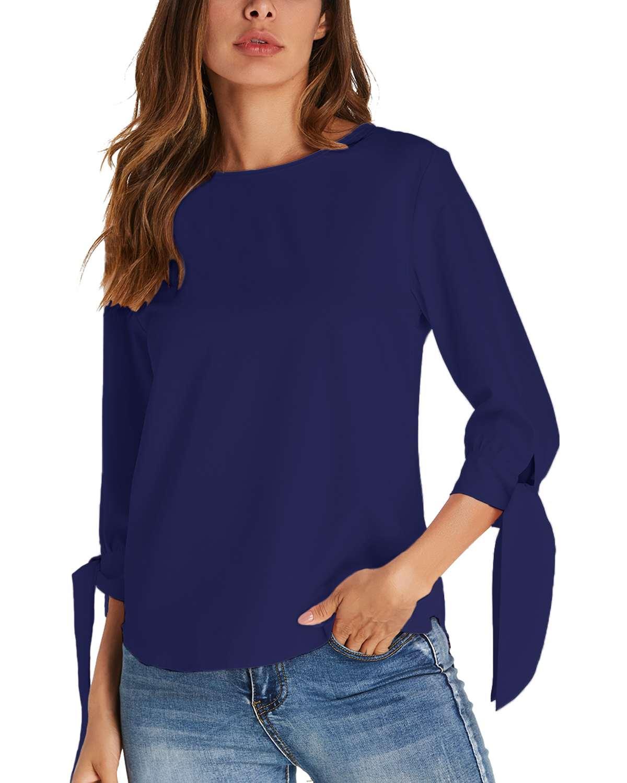 Elegant Women   Blouses     Shirts   2019 Spring Summer O Neck 3/4 Sleeve Bow Solid Tees Tops Ladies Casual Pullovers Blusas Femininas