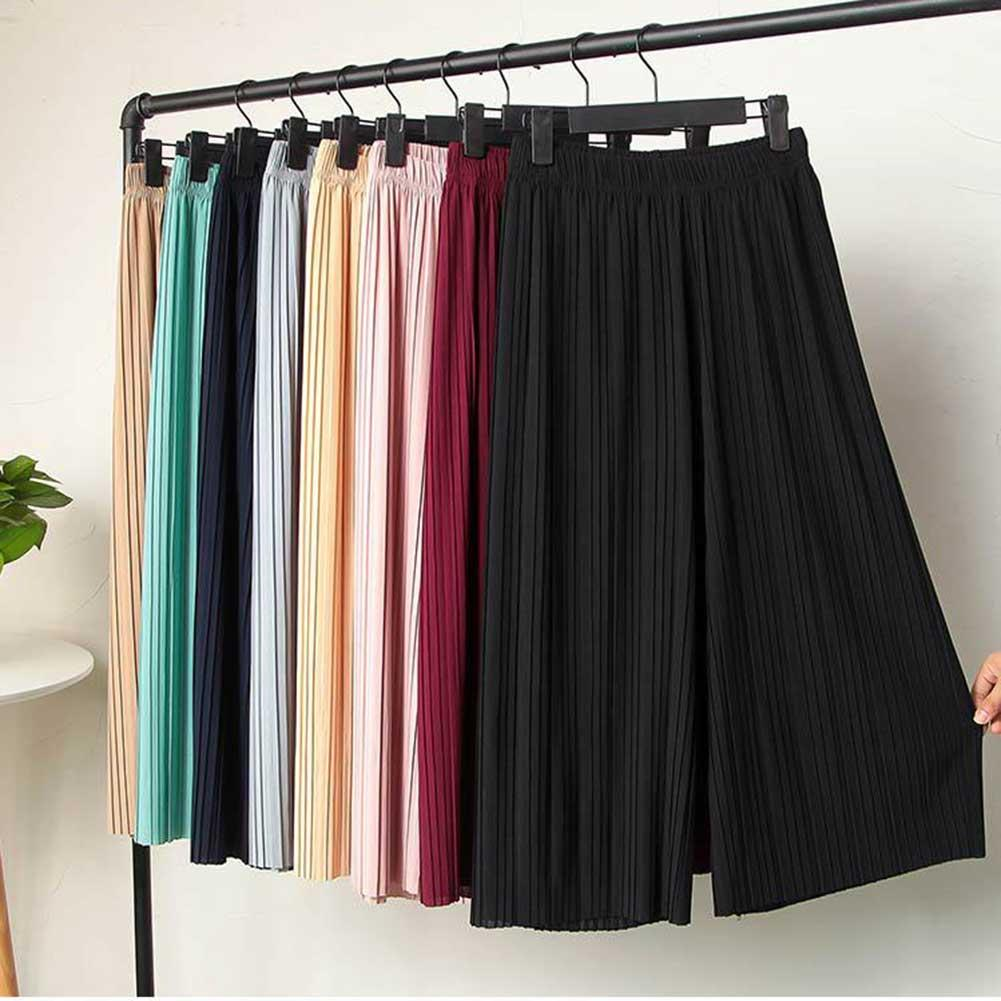 Fashion Women's High Waist Ruffled Chiffon Wide-Leg Pants Pleated Loose Flared Pants Trousers Skirt For Women Pantalones
