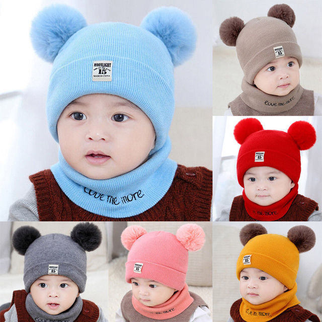 2018 Brand New Newborn Infant Baby Girls Boy Autumn Hat Scarf 2PCS Ball Knit  Solid Warm Furry Ball Beanie Hats+Letter Scarf Gift 84c7531cfe95