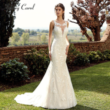 Ashley Carol Scoop Sleeveless Mermaid Wedding Dresses