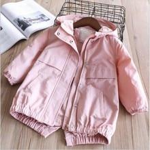 baby jacket for girls coat pink hooded solid children's clothing girls outerwear fashion kids jacket цены онлайн